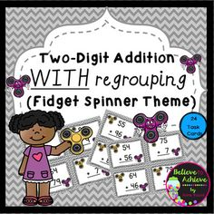 ***50% off the FIRST 48 hours! Two-Digit Addition WITH regrouping task cards (Fidget Spinner theme) ***No Fidget Spinner needed to use these cards! This is a colorful set of 24 task cards to practice two-digit addition WITH regrouping with Fidget Spinner