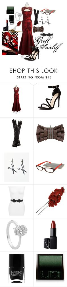"""Grell Sutcliff (Reaper)"" by pianogirlfca ❤ liked on Polyvore featuring XSCAPE, Mollini, Dolce&Gabbana, Gabriel + Simone, Kate Spade, Georgini, NARS Cosmetics, Nails Inc., Surratt and Louis Vuitton"