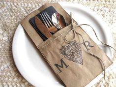 Silverware Pockets - heart and INITIALS - set of 4 - wedding table decor, wedding dinner, rehearsal dinner. $8.00, via Etsy.   You can also make this yourself...very easy