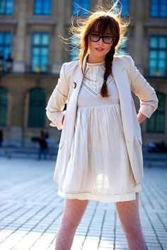 Black glasses, short white dress, ivory blazer, polka dot tights ||from $9.50 @amazon http://www.amazon.com/French-Polka-Dot-Tights-Pantyhose/dp/B009E8F6O4/?ref=sr_1_3=UTF8%3D1361515126%3D8-3%3Dpolka+dot+tights or @bonanza http://www.bonanza.com/listings/French-Polka-Dot-Tights-Pantyhose/101320641