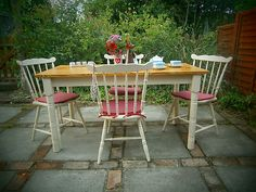 Shabby Chic Pine Table & Spindle Back Chairs ~ Annie Sloan Old Ochre