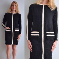 70s 80s Mod Shift Secretary Dress // Black & White // USA Made
