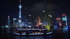 Jin Mao Tower, Adrian Smith, Oriental Pearl TV Tower, Huangpu (River), Pudong, Excursion Ship, Illuminated Advertising, Architectural Icon, Cargo Ship, Skyline (City Silhouette), Ship Transport, Landmark (Sights), Night, Megacity, Travel Destination, Metropolis (City), Stock Footage,