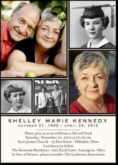 Memorial Invitations Lifetime Lines - Front : Pearl