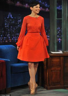 Take a bow: Ginnifer looked as though she was ready to curtsey before she took a seat