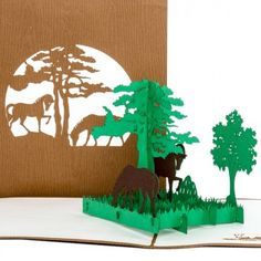 Pop-Up Karte Pferde #zoo #klappkarte #pferde #horses #pferd #reiten #reitsport #geburtstag #ausflug #tiere #dasglückdererde #reise