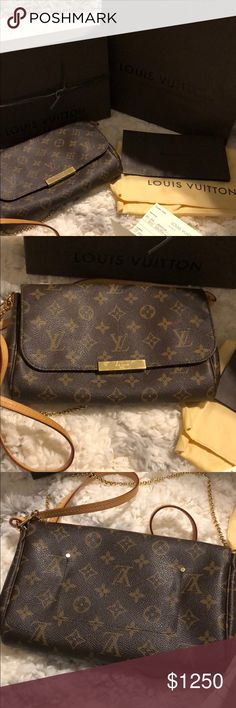 Louis Vuitton Favorite MM (large size) Like new! Only scratches are on the name plate from wear. The straps are like new! No color changing or anything. I wore my other purses more. 2 year old bag! I don't even think they sell this anymore. Comes with everything listed. Sold out online. 100% authentic, posh will verify. Please keep in mind that they take a cut. I do have better deals please text me 8178053776 Louis Vuitton Bags Crossbody Bags