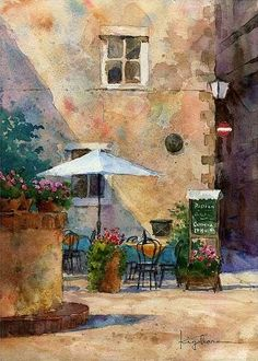 "https://www.facebook.com/MiaFeigelson ""Cafe terrace in Pienza"" ""「ピエンツァのカフェテラスで」"" (Pienza, Tuscany, Italy) By Kiyoharu Narazaki, from Fukuoka-shi, Japan - watercolor - https://www.facebook.com/kiyoharu.narazaki"