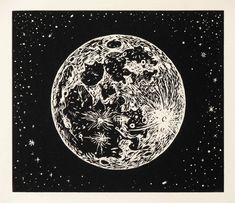 Full Moon, Linocut Print on Rives BFK Paper, 2009 by Mike Schultz ☽