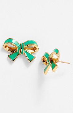 NWT $48 Kate Spade New York 'finishing touch' bow stud earrings green  #KateSpade #Stud