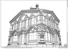Вид в перспективе 6. Проект дома в стиле русской готики. Архитектор Антон Булатецкий