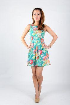 Agneselle — Cassandra Floral Dress in Green SGD $28