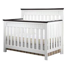 Baby J's Crib!!!  Delta Chalet 4-in-1 Lifetime Crib - White Ambiance/Dark Chocolate