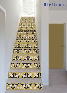 Stair riser decal : Yellow Mexican style stair decals - 44 pcs by Bleucoin on Etsy https://www.etsy.com/listing/192383222/stair-riser-decal-yellow-mexican-style finished effect