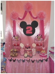 """DISNEY- MINNIE AND MICKEY MOUSE / Birthday Party Candy Bar Table of Ideas ~ """"2ND BIRTHDAY"""""""