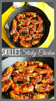 Skillet Sticky Chicken ~ The Complete Savorist Chicken strips coated is sweet, but sticky sauce and cooked quickly in a @campchefmfr  Cast Iron Skillet #sponsored