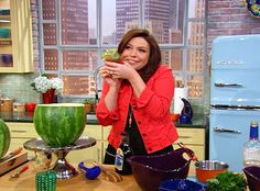 Rachel Ray Watermelon Mojito. Pour over fruit salad in watermelon shark bowl (Posted separately).