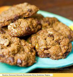 Crazy Double 'Coconut' Chocolate Chip Walnut Cookies. #vegan #cookies #dessert