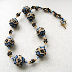 Ethnic style beaded necklace  beaded beads by Anabel27shop on Etsy