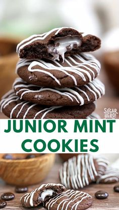 Junior Mint Cookies Video - Chewy Candy - Ideas of Chewy Candy - Junior Mint Cookies are soft chewy cookies with a gooey Junior Mint Candy baked right in! You can also substitute any other small candy or candy bar that youd like. Köstliche Desserts, Delicious Desserts, Dessert Recipes, Yummy Food, Food Deserts, Tasty, Chewy Chocolate Cookies, Chewy Candy, Brownies Cacao