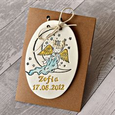 Catholic personalised baptism gift, 1st holy communion gift, Clay plaque with angel imprint, Christening gift, First communion keepsake by FrivolousCrafts on Etsy