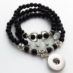 C024   Newest  Natural Stone snap button bracelet Adjustable handmade bracelet Can be used as necklace  (fit 18mm 20mm snaps)