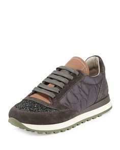 Glitter+Cap-Toe+Leather+Combo+Sneaker,+Twilight+by+Brunello+Cucinelli+at+Bergdorf+Goodman.