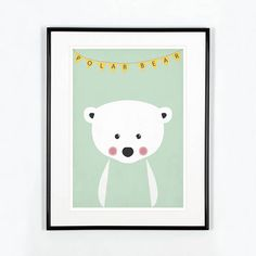 Nursery art print Polar bear Animal nursery art Cute baby