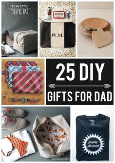Lots of great gift ideas to DIY for Father's Day. Love the up cycled neck tie zip pouches!   25 DIY Gifts for Dad