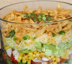 Layered Chicken Taco Salad Recipe Salads, Main Dishes with romaine lettuce, fresh spinach, cooked ch How To Cook Chicken, Cooked Chicken, Layer Chicken, Cooking Pork Tenderloin, Taco Salad Recipes, Dinner Sandwiches, Chicken Tacos, Salad Bar, Vegetable Sides