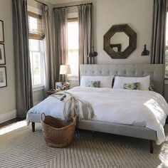 30 French Country Bedroom Design and Decor Ideas for a Unique and Relaxing Space - The Trending House Home Design, Design Hotel, Cozy Bedroom, Modern Bedroom, Bedroom Decor, Bedroom Ideas, Contemporary Bedroom, Light Gray Bedroom, Contemporary Kitchens