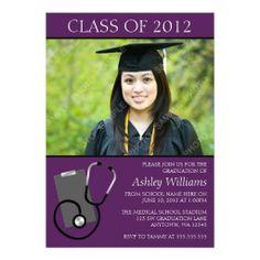 nursing graduation invitations | medical_nursing_school_purple_photo_graduation_invitation ...