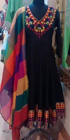 Black and multi salwar Anarkali Dress, Pakistani Dresses, Indian Dresses, Indian Outfits, Anarkali Suits, Indian Clothes, Punjabi Suits, Kurta Designs, Blouse Designs
