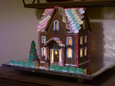 lighted 3-story gingerbread house
