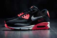 NIKE AIR MAX 90 ESSENTIAL BLACK/WOLF GREY-ATOMIC RED-ANTHRACITE #sneaker