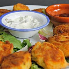 Easy Cod and Shrimp Croquettes Recipe Main Dishes with whitefish, cooked shrimp, medium potatoes, minced onion, salt, pepper, fresh parsley, eggs, flour, plain breadcrumbs, cooking spray