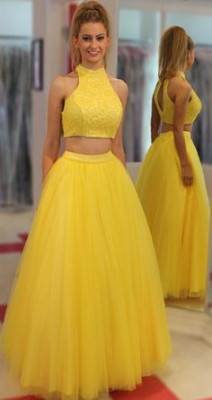 Two Piece Prom Dresses, Yellow Prom Dresses, Prom dresses Sale, Two Piece Dresses, Floor Length Dresses, Sleeveless Prom Dresses, Pleated Prom Dresses, Floor-length Prom Dresses