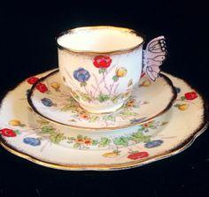 Royal Albert Rare Lavender Butterfly Handle Tea Cup Saucer Dessert MINT Trio