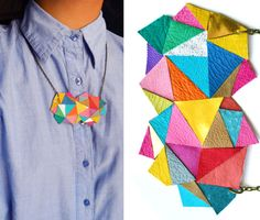 Geometric Necklace Neon Triangles and Modern Angles