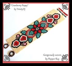 BP-FLO-073-2015-127 Cranberry Poppy Peyote pattern Peyote