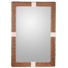 $198 SOL 42Hx28W Canvas Wrapped Rope Mirror