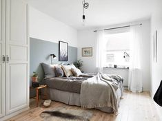 Awesome Schlafzimmer Ideen F?r Wenig Platz that you must know, You?re in good company if you?re looking for Schlafzimmer Ideen F?r Wenig Platz Cozy Bedroom, Modern Bedroom, Bedroom Decor, Wall Decor, Half Painted Walls, Luxurious Bedrooms, Bedroom Colors, Small Rooms, Small Space