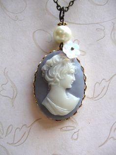 Cameo lady necklace blue wedgewood Victorian door botanicalbird