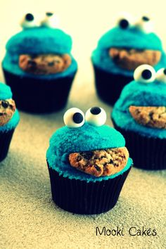 Cookie Monster Cupcakes Just some more Cookie Monster cupcakes. Made these for my Dad's birthday.