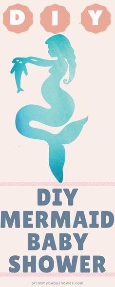 Mermaid Baby Shower Baby Shower Niño, Mermaid Baby Showers, Baby Shower Gender Reveal, Baby Shower Themes, Baby Boy Shower, Shower Ideas, Baby Shower Mermaid Theme, Mermaid Baby Shower Decorations, Printable Baby Shower Invitations