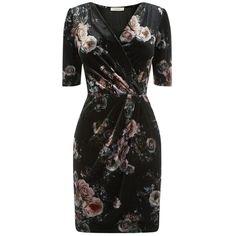 Oasis Floral Print Velvet Wrap Dress, Black/Multi (€67) ❤ liked on Polyvore featuring dresses, long-sleeve midi dresses, v-neck maxi dresses, floral maxi dress, long-sleeve mini dress and v neck maxi dress