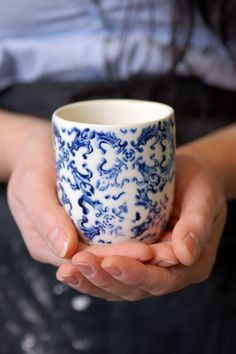 Ceramic...love the blue on white