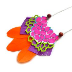 Neon Statement Necklace, Leather Geometric Necklace, Hexagon Metallic Bib Necklace in Pink Green Orange and Purple, Holograpic Jewelry