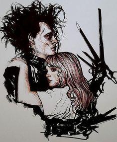 There love makes me happy Tim Burton Style, Tim Burton Art, Tim Burton Films, Johnny Depp Personajes, Edward Scissorhands Tattoo, Desenhos Tim Burton, Art Sketches, Art Drawings, Scissors Hand