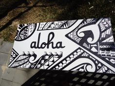 Aloha custom Polynesian design canvas via Etsy - Letter Tattoos Polynesian Designs, Polynesian Tribal, Hawaiian Tribal, Maori Designs, Hawaiian Art, Polynesian Culture, Polynesian Tattoos, Hawaiian Legends, Aloha Tattoo